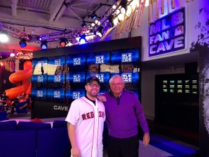 Joe with Red Sox fan Nick Mendillo from Cranston, RI